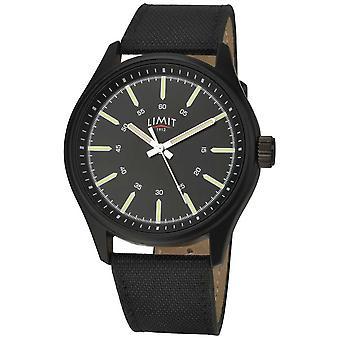 Limiet | Mens | Zwart lederen band | Zwarte wijzerplaat | 5948,01 horloge
