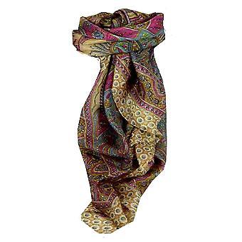 Foulard carré de soie traditionnel de mûrier Ami sable & Pearl par Pashmina & soie