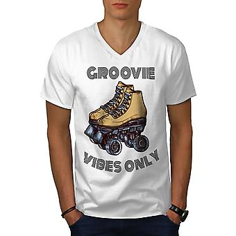 Groove Vibes Only Men WhiteV-Neck T-Shirt | Wellcoda