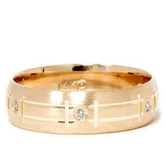 Herre 14K gul guld Diamond Swiss skære vielsesring