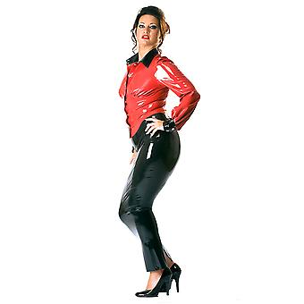 Honour Women's Sexy Shirt Blouse in Rubber Press Stud Black & Red Longsleeves