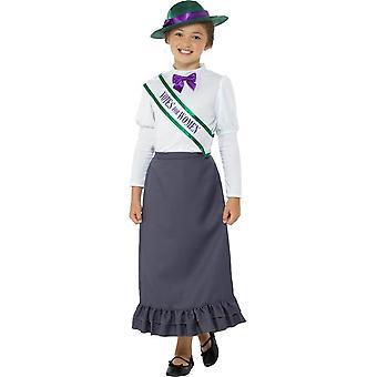 Victorian Suffragette Costume, Girls Fancy Dress, Medium Age 7-9