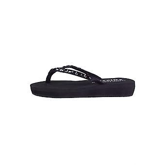 Lovemystyle schwarze Sohle Flip Flop Sandalen mit schwarzen Perlen