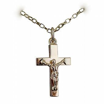 9ct Gold 20x13mm solider Block Kruzifix Kreuz mit einem Belcher Kette 24 Zoll