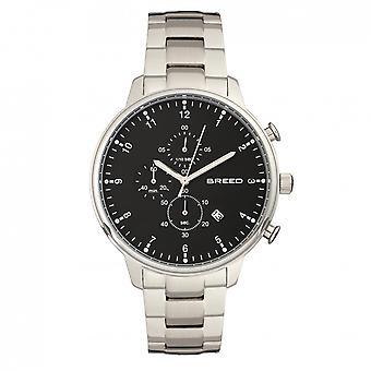 Breed Holden Chronograph Bracelet Watch w/ Date - Silver/Black