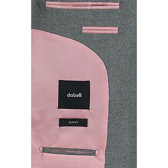 Dobell Mens Light Grey Suit Jacket Slim Fit Notch Lapel