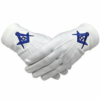 Masonic 100% Cotton Gloves Square Compass & G Blue Machine Embroidery