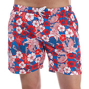 Mens Henleys Flowers Patterned Swim Short In Red
