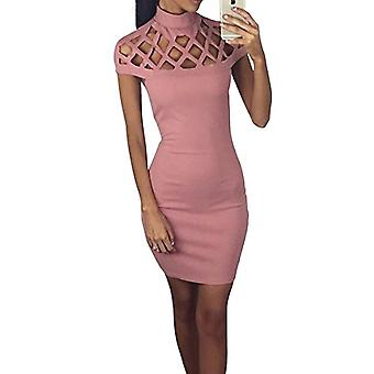 Ladies hot fashion bodycon caged laser cut sleeves mini party dress