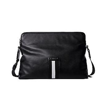 Leather Black Landscape Plain Style Bag 12.5