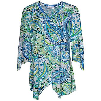 Just White Lightweight Paisley Print Kaftan Tunic