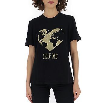 Alberta Ferretti 07026661j0555 Mujer's camiseta de algodón negro
