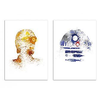 2 Pôsteres de Arte - C3PO e R2D2 - Arian Noveir