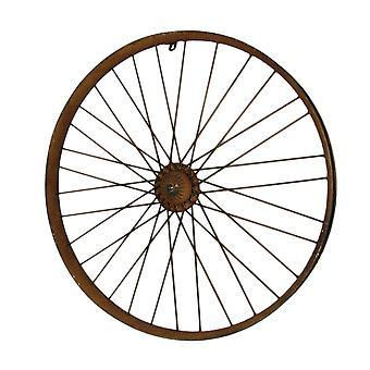 Rusty Metal Vintage Bicycle Wheel Wall Sculpture