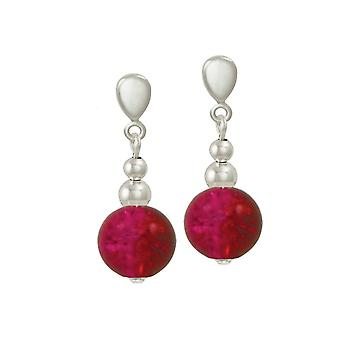 Eternal Collection Dominica Siam Red Crackle Bead Silver Tone Drop Clip On Earrings