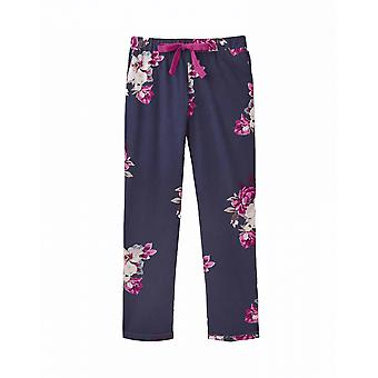 Joules Snooze Womens Long Woven Pj Bottoms - French Navy Bircham Bloom
