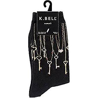 Women's Crew Socks - K Bell - Keys Black