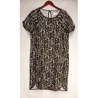 Denim & Co. Dress Active Printed Knit Short Sleeve Olive Green A275287
