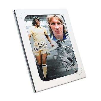 Tony Currie había firmado foto Unido Leeds. En caja de regalo