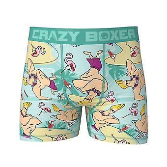 Johnny Bravo Men's Blue Tropical Crazy Boxer Slips