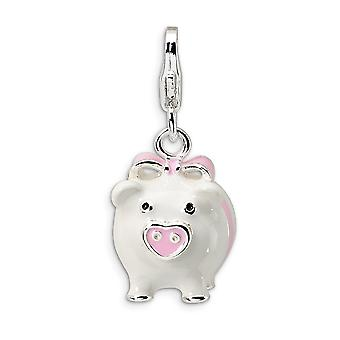 925 Sterling Silver Rhodium plated Fancy Lobster Closure 3 D Enameled Pig With Lobster Clasp Charm Pendant Necklace Meas