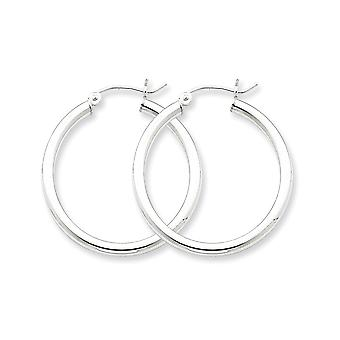 925 Sterling Silver Polished Hollow tube Hinged post 2.5mm Round Hoop Earrings Jewelry Gifts for Women