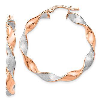 925 sterling silver polerad svängbara Hoop Rose guld-blixtrade twisted svängbara örhängen-3,5 gram