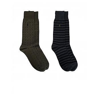 Polo Ralph Lauren 2 Pack Stripe Polka Dot Socks
