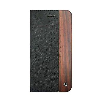 iPhone 6/6s Plus Case - 5.5 Inch Mode Wooden Saffiano Texture Black Folio Hard Shell