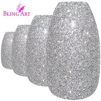 False nails by bling art silver gel ballerina coffin 24 fake long acrylic tips