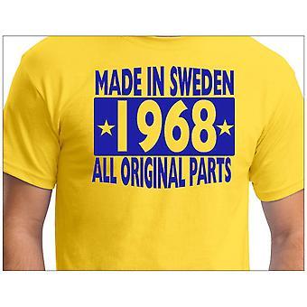 Camiseta amarela feita na Suécia 1968 Todas as peças originais