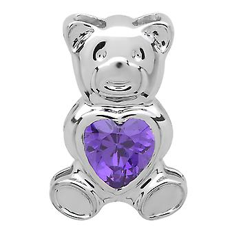 Dazzlingrock Collection Ladies Teddy Bear With Violet CZ Cubic Zirconia Pendant, Sterling Silver