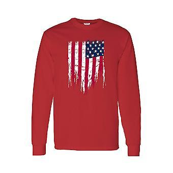 T-shirt à manches longues Ripped Men-apos;s USA Flag Battle Ripped Long Sleeve