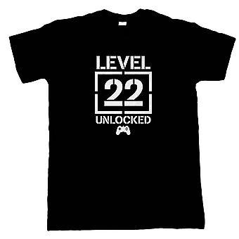 Taso 22 avattu video peli syntymä päivä, Miesten T-paita-pelaaminen lahja hänelle isä
