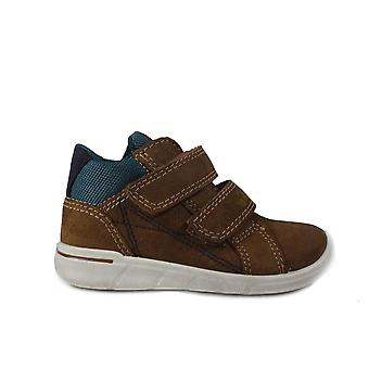 Ecco First 754111 01034 Brown Leather Boys Rip Tape Ankle Boot