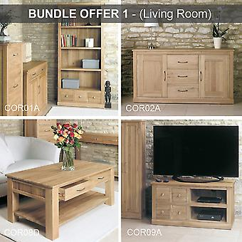 Mobel Oak Living Room Bundle 4 Furniture Pieces Furniture Bundle/Set-Baumhaus