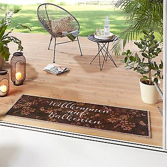 Washable kitchen runner Welcome to Balconies Brown 50x150 cm