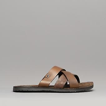 Base London Chariot menns Lær Mule sandaler Tan