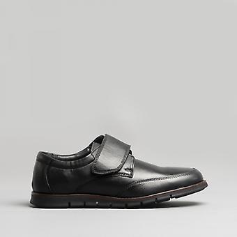 Dr Keller Atlas Mens Leather Touch Fasten Shoes Black