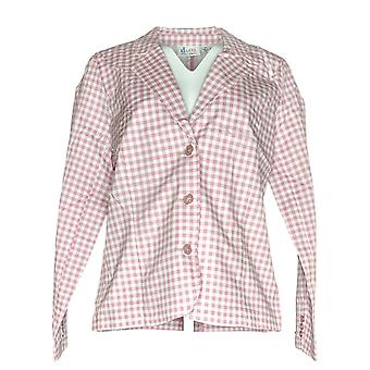 Denim & Co. Donne's Blazer A maniche lunghe Gingham Bianco/ Rosa A275255