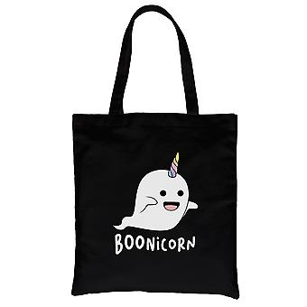 Boonicorn Cute Halloween kostuum grappige Ghost Unicorn zwart canvas schoudertas