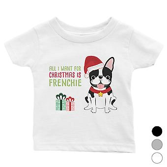 Kerst Frenchie aanwezig grappige baby shirt X-Mas gift