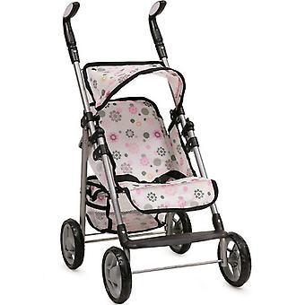 Doll buggy 9351, floral design, with storage basket, handles height adjustable