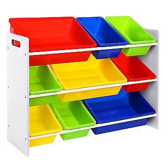 Rack de armazenamento colorido para o quarto das crianças com 9 caixas