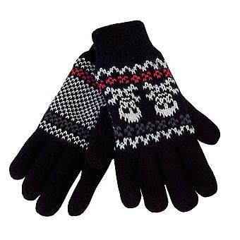 スカル デザイン熱の暖かい冬高並んでカフ手袋を編んだ少年