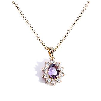Ah! Jewellery 1.45ct Genuine Precious Amethyst Necklace. Stamped GL