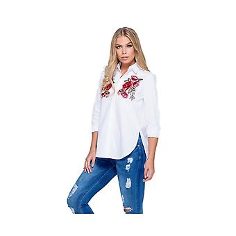 P UK Floral Embroidered Button Front Shirt