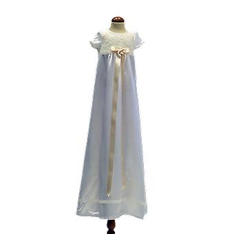 洗礼ドレス私は半袖、ワイドロゼット.graceのスウェーデンの白をオフ