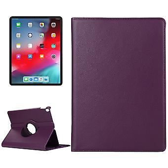 iPad Pro 12.9インチ(2018)ケースの場合、ライチテクスチャPUレザーフォリオカバー、パープル