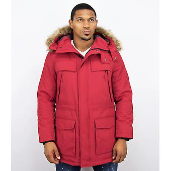 Long Parka Coat - With Fur Collar - Red